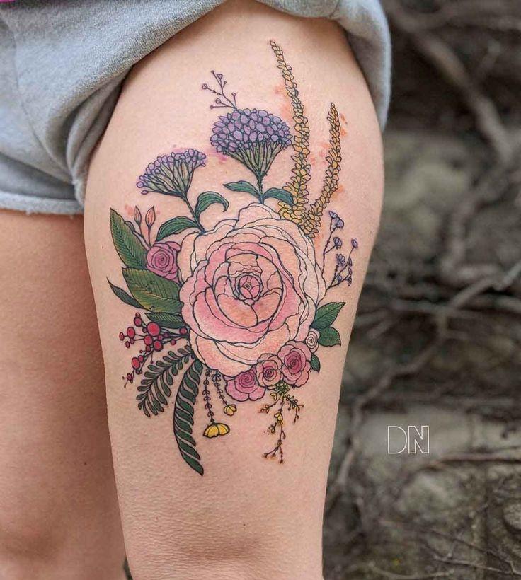 thigh tattoo flowers