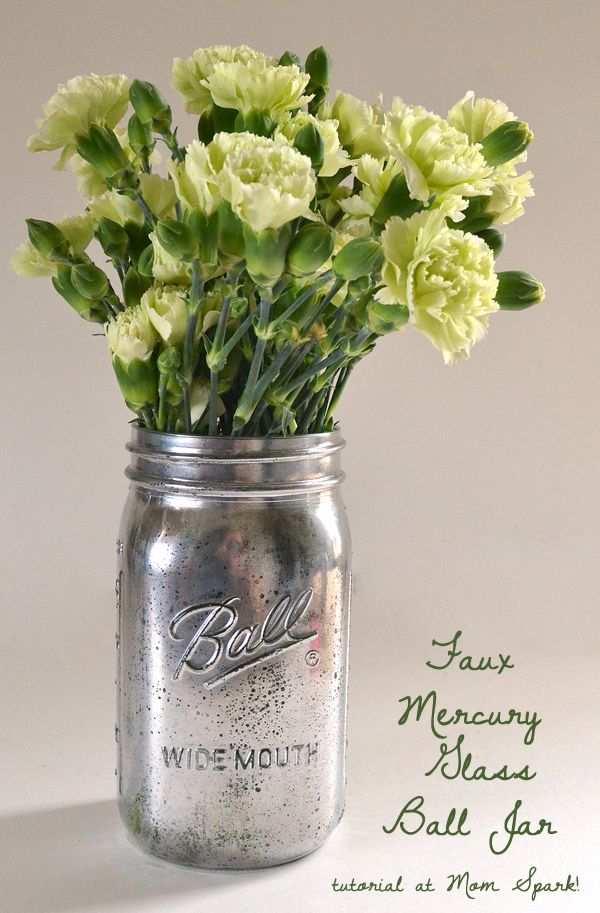 The only thing that could make a Ball mason jar a cuter vase is a quick faux Mer...