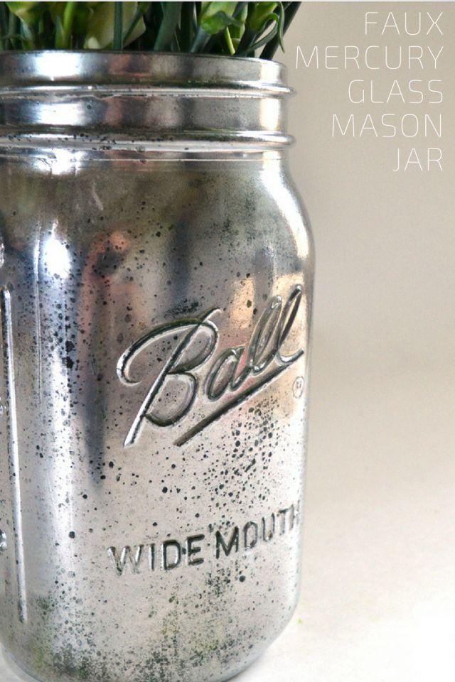 Faux Mercury Glass Ball Mason Jar