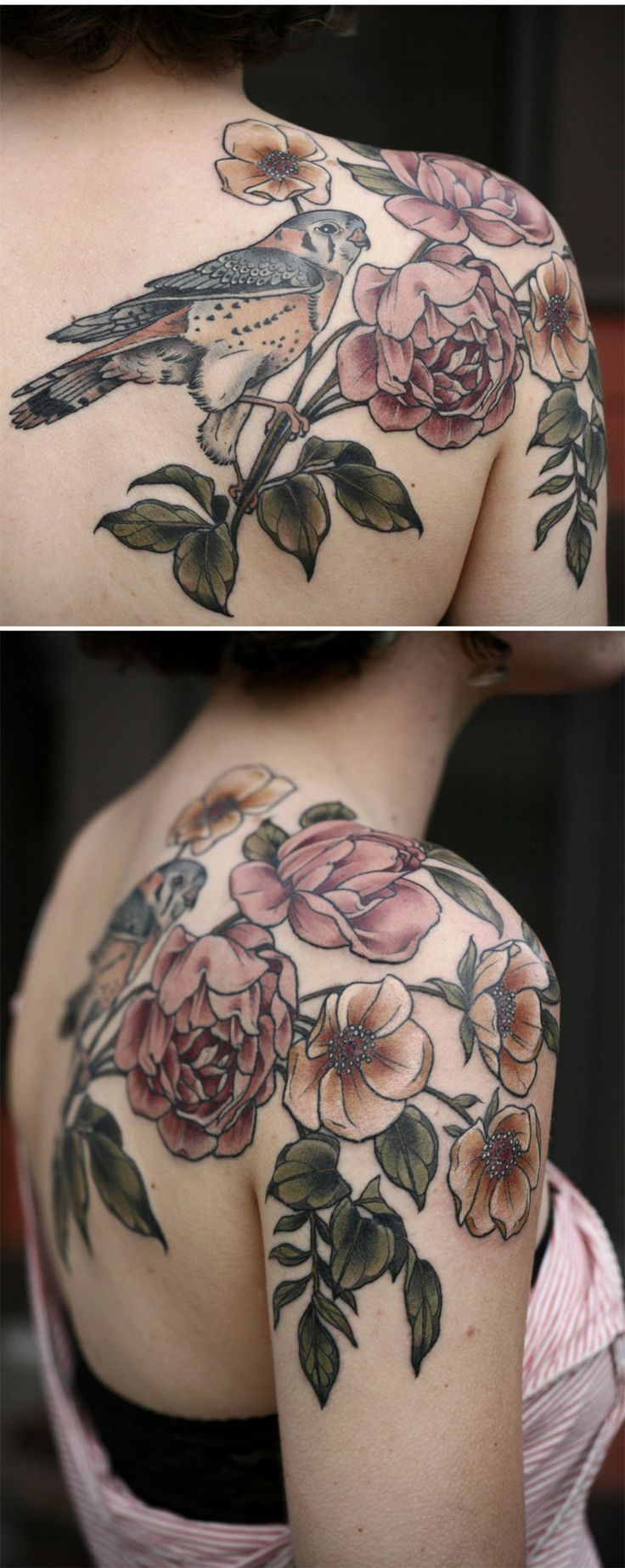 American kestrel with wild roses by Kirsten Holliday @ Wonderland Tattoo - Portl...