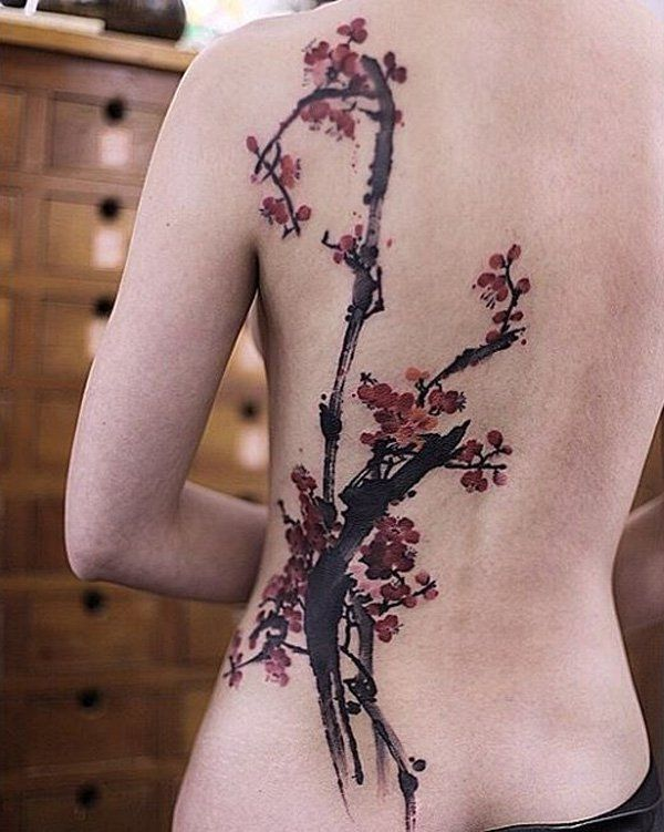 Cherry blossoms back tattoo - 100 Awesome Back Tattoo Ideas