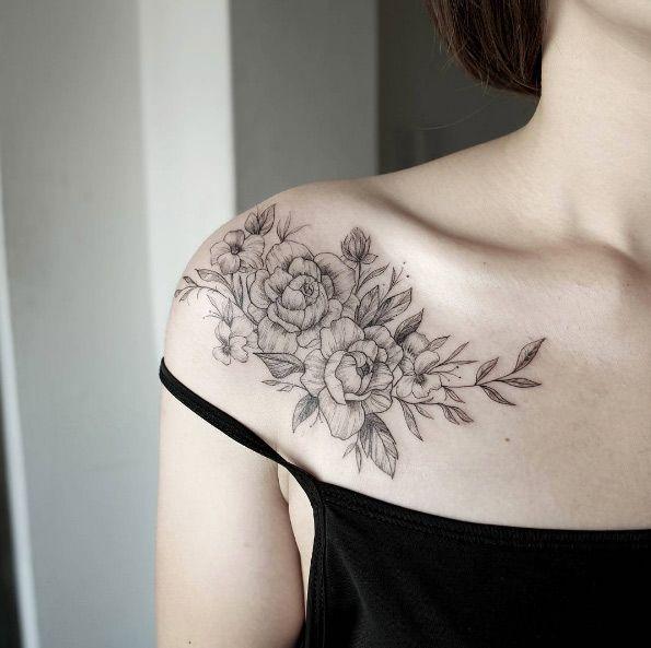 350f31e186777 Flower Tattoos : Elegant blackwork floral shoulder piece by Chaehwa ...
