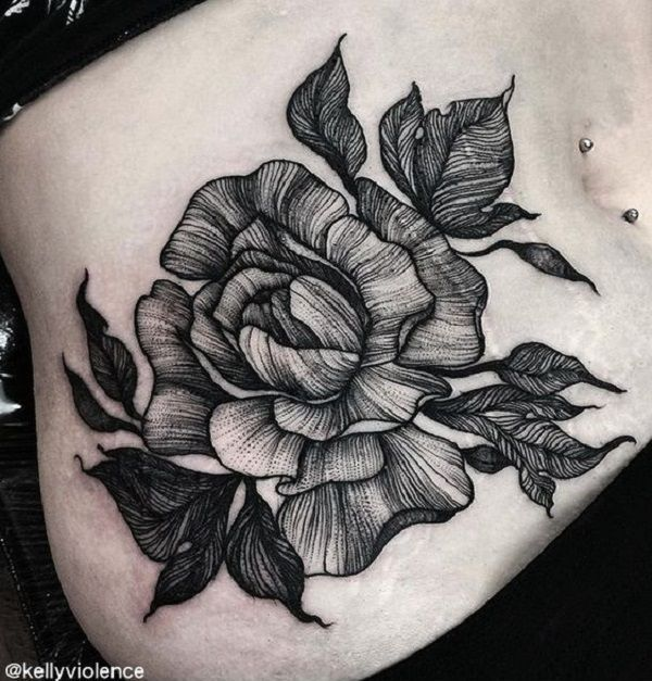 Gray scale peony tattoo on the abdomen is another one to try. This tattoo look...
