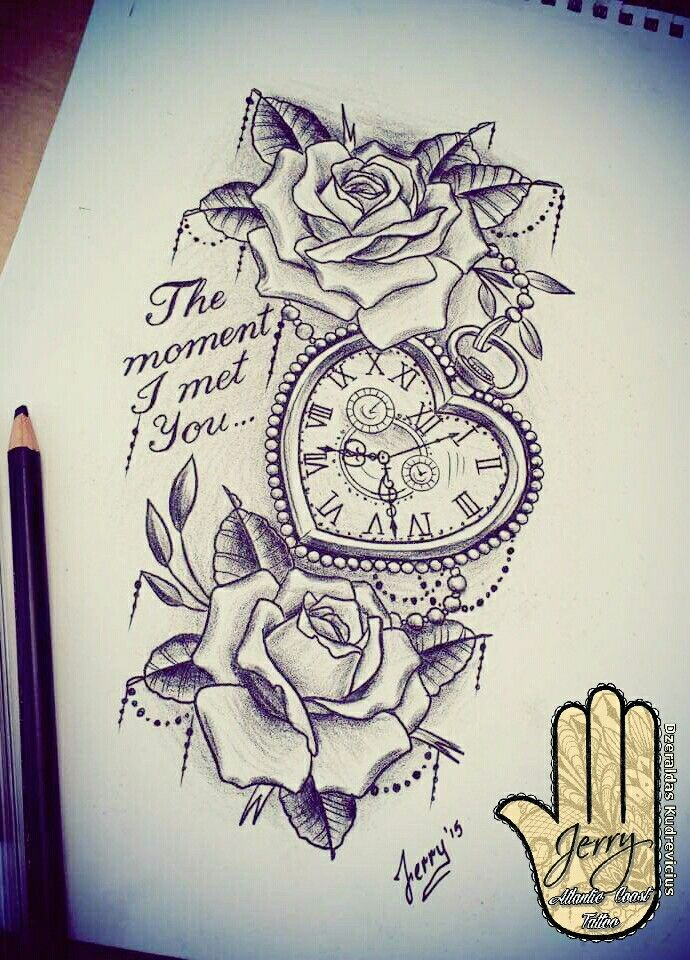 Heart shaped pocket watch with rose tattoo design idea. Lace and writing by Dzer...