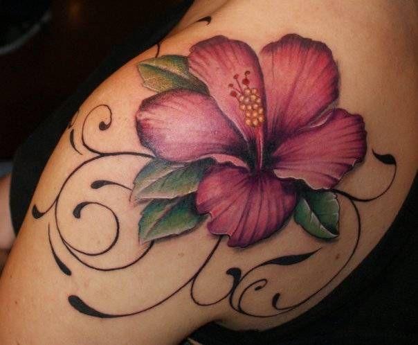 Hibiscus  Flower tattoo - 65+ Beautiful Flower Tattoo Designs
