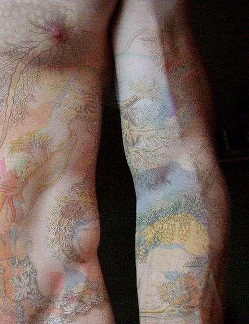 I haven't seen a watercolor tattoo quite like this. I love how light and pas...
