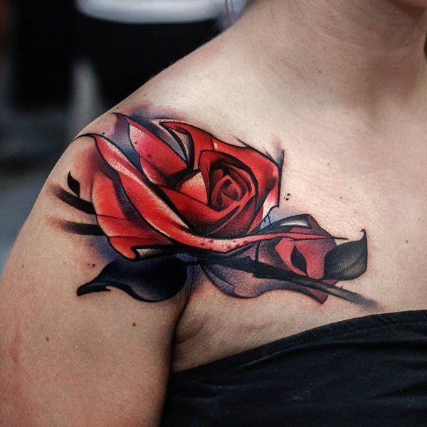 Red rose shoulder tattoo - 70 Awesome Shoulder Tattoos