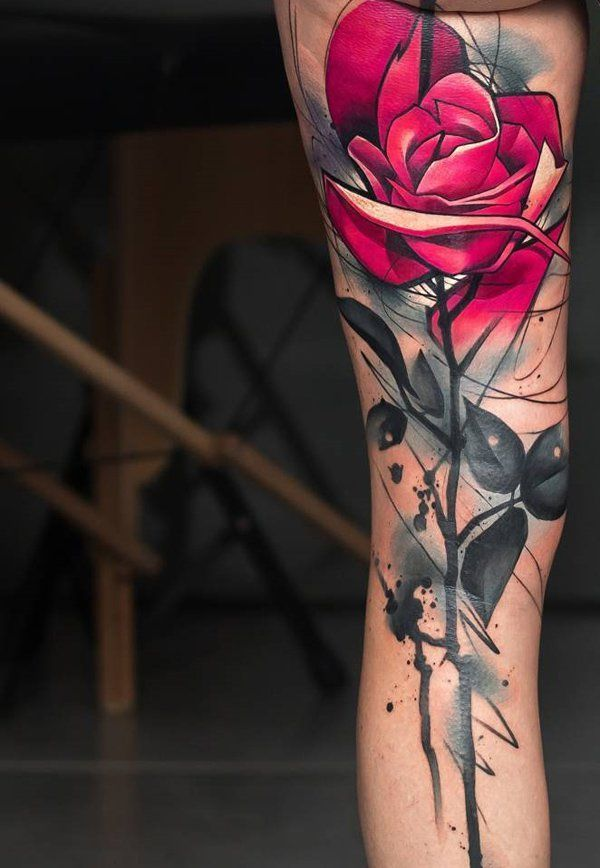 Rose leg tattoo - 60 Incredible Leg Tattoos