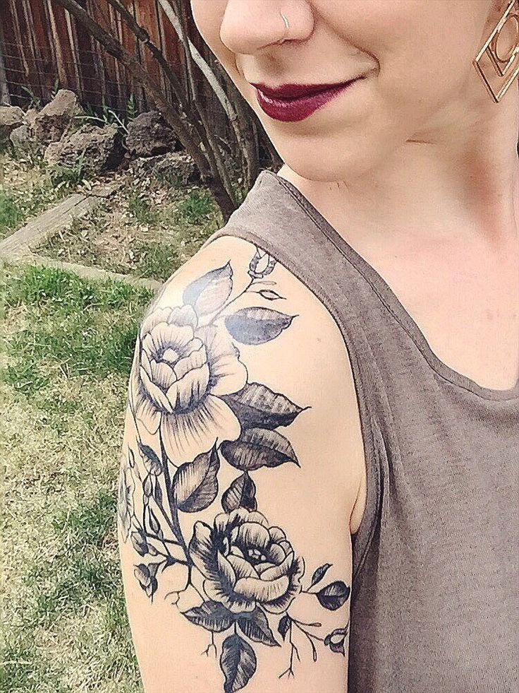 Shoulder tattoo...vintage floral tattoo. Monolith Tattoo in Bend, OR // artist K...