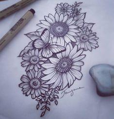 Tattoo floral... Girassóis com margaridas! #floraltattoo #girassoltattoo #tatto...