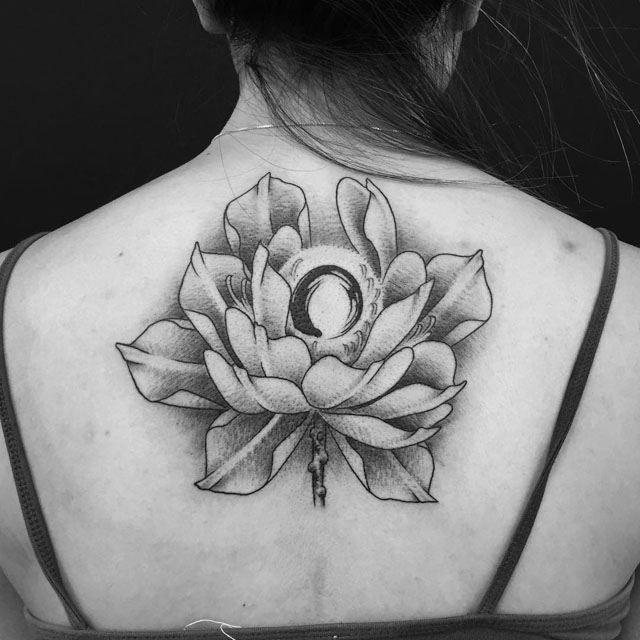 back lotus flower tattoo zen