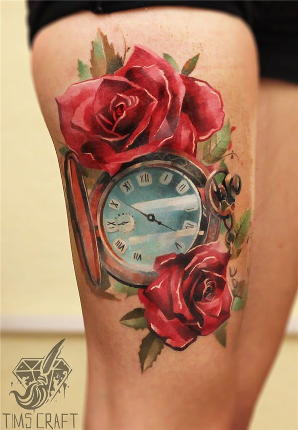 Flower Tattoos Clock N Roses The Meaning Of A Clock Tattoo Is Often In Memorandum Of A Specif Flowers Tn Leading Flowers Magazine Daily Beautiful Flowers For All Occasions