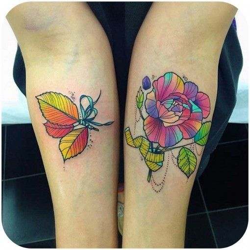 colorful floral tattoos