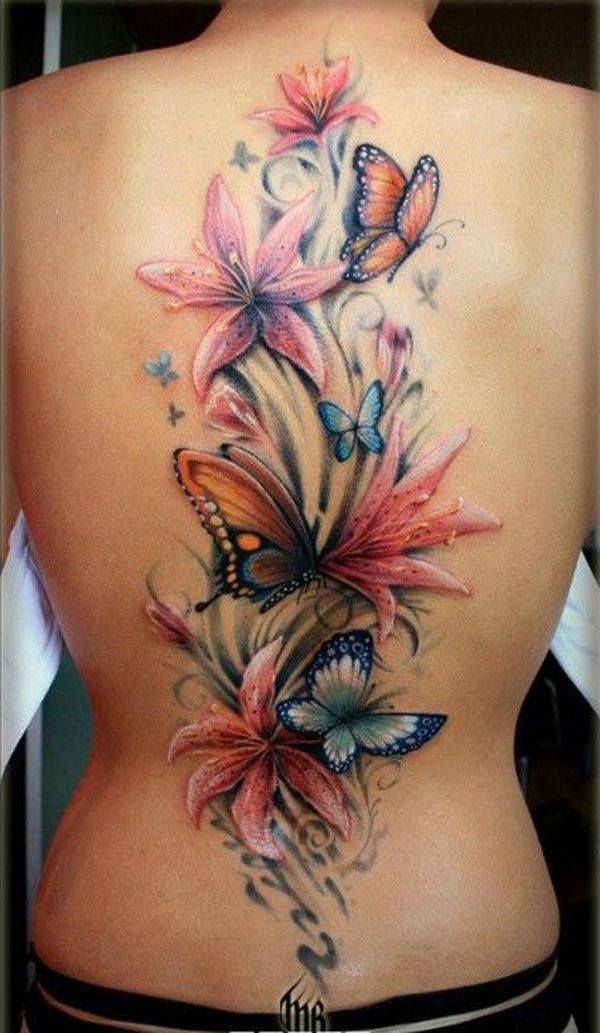 flowers with butterfly tattoo on black - 50 Butterfly tattoos with flowers for w...