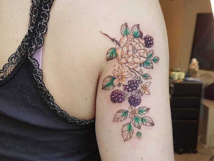 front shoulder tattoo black berry