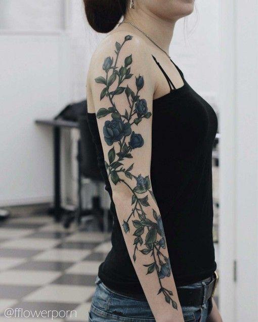 girly flowers tattoo sleeve