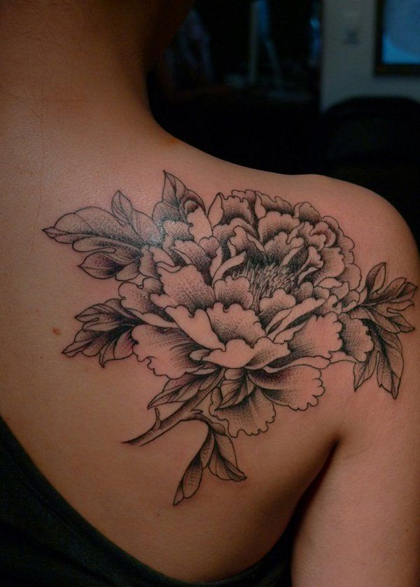 peony tattoo - The peony has rich meanings in Eastern culture. It is the floral ...