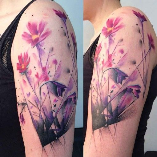 shoulder purple flowers tattoo
