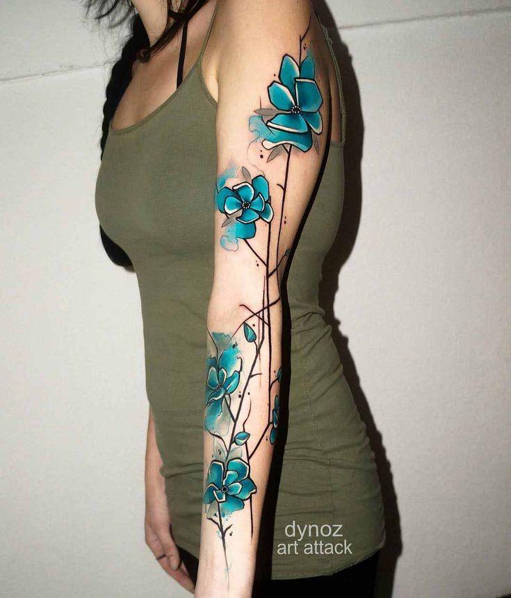 tattoo sleeve blue flowers