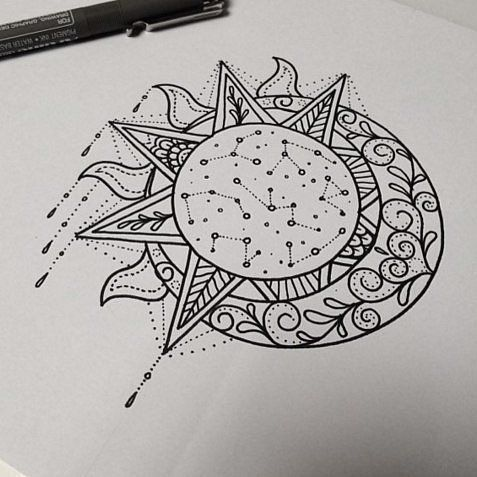 the sun and the moon,sketch, outline, sketching,design                          ...