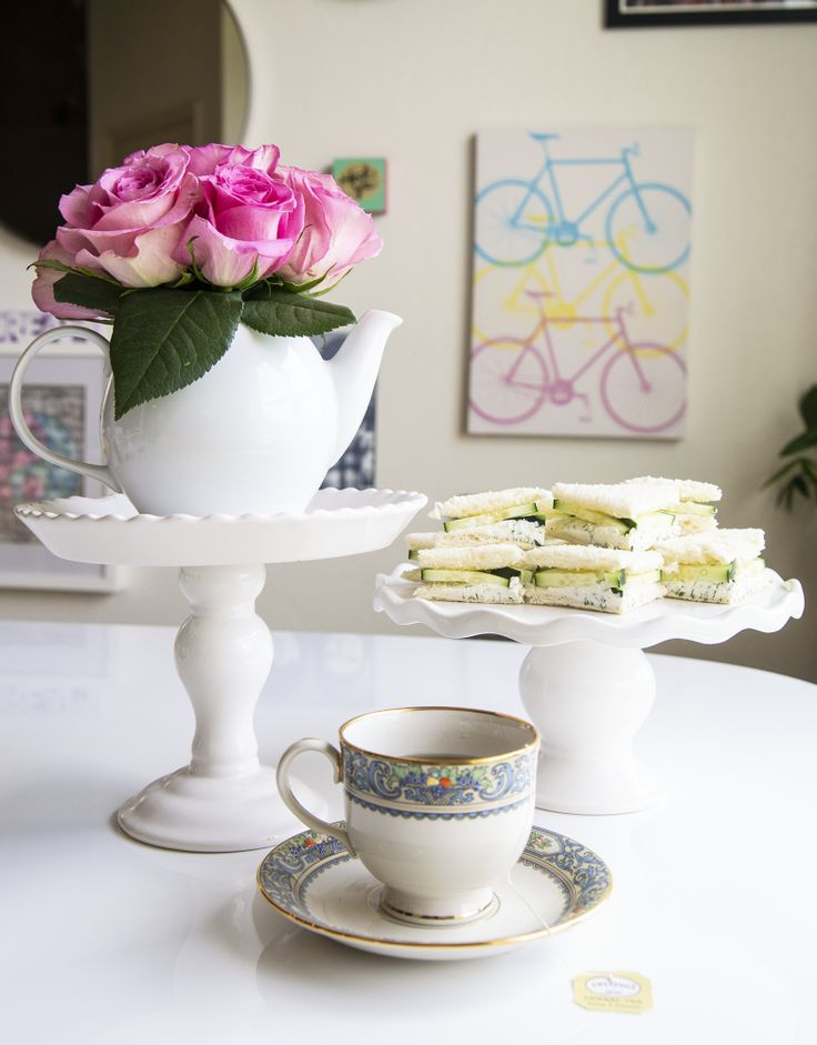 How to Create a Royal Wedding Tea Party - Pink Roses in Teapot, Cucumber Tea San...