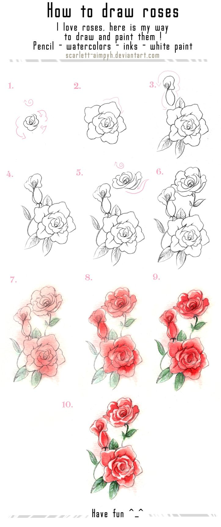 122 - Draw and paint roses by Scarlett-Aimpyh.d... on @deviantART