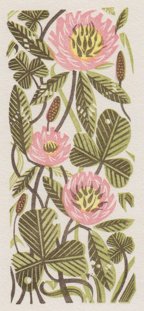 'Clover', wood engraving, by Angie Lewin, nature, plant, flower, printma...