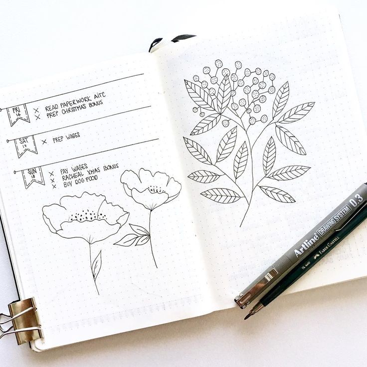 Bullet journal weekly layout, monochromatic layout, floral drawings. @_intosimpl...