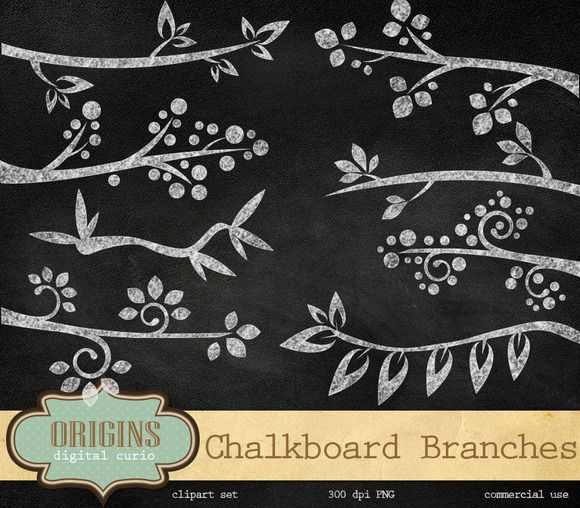 Check out Chalkboard Branches Clipart by Origins Digital Curio on Creative Marke...