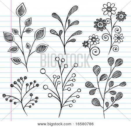 Flores - leaf doodles, @Toni Martin Paquette
