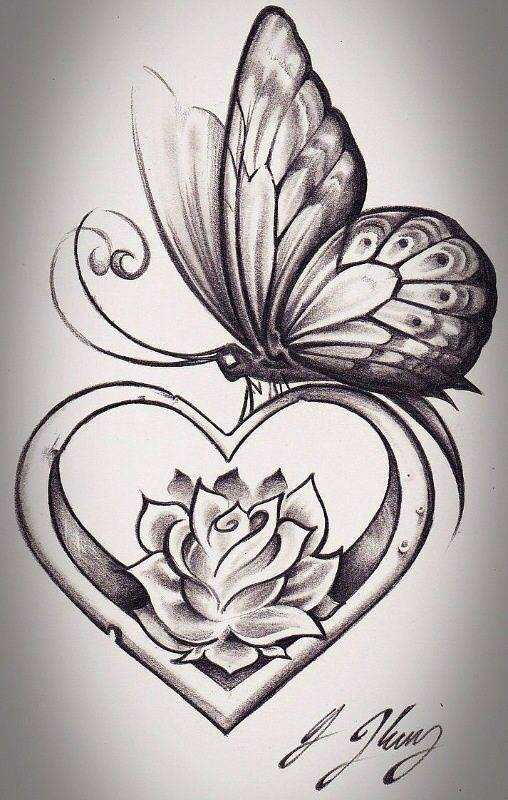 get rid of the butterfly and i love the flower inside the heart. Birth flowers f...
