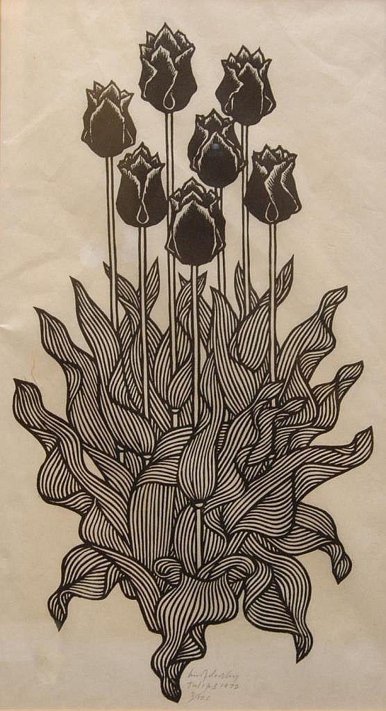 Jacques Hnizdovsky (1915-1985), 'Tulips', 1972, woodcut