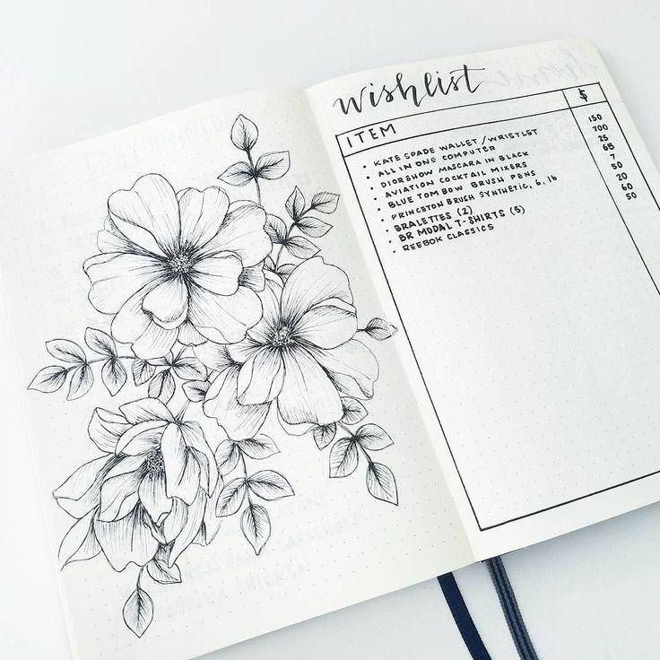 Lovely drawing of flowers in bullet journal and a wishlist #bulletjournal #bujo ...