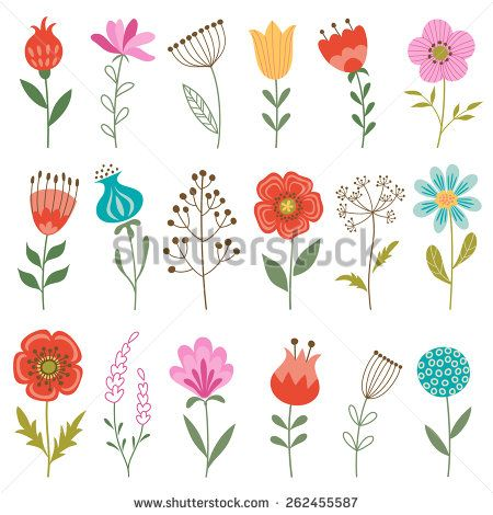 Set of colorful flowers isolated on white background. - stock vector