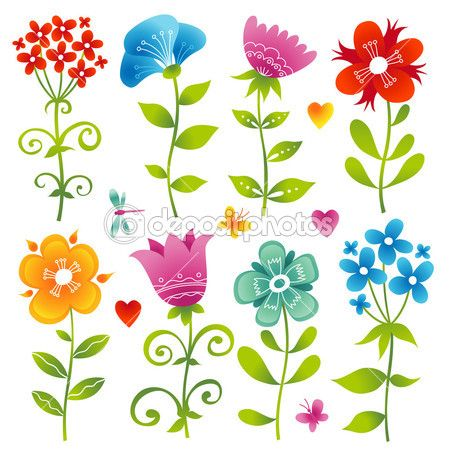 Set of colorful flowers. — Stock Illustration #48131657