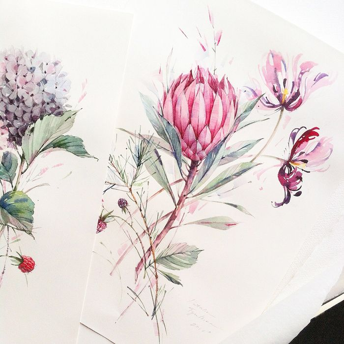The selection of watercolor flowers below is by Moscow, Russian Federation based...