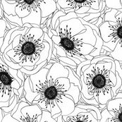 White Anemones fabric by pattysloniger for sale on Spoonflower - custom fabric, ...