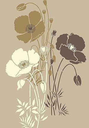 Wild Poppy Stencils Small Poppies Stencil Theme Pack