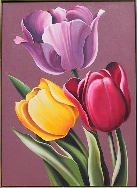 lowell blair nesbitt   Lowell Blair Nesbitt, Tulipa Hybrida, Oil Painting : Lot ...