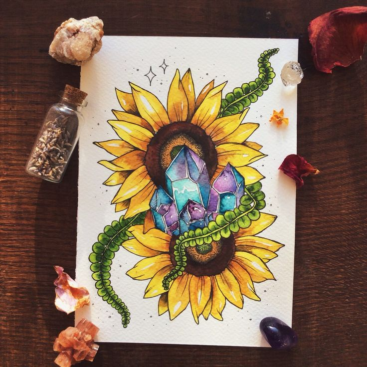 luna-patchouli:  Sunflower tattoo commission for native-traveler ♥︎ (contact...