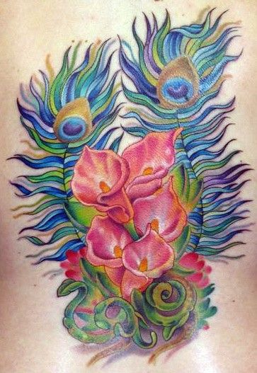 peacock feather and flower watercolor tattoo on back - leaves