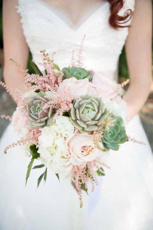 Jen's Blossoms Jon & Moch Photography, bridal bouquet with succulents, astil...