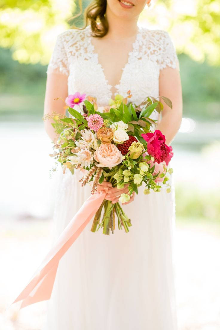 Mikkel Paige Photography photos of a pink and blush bridal bouquet for a wedding...