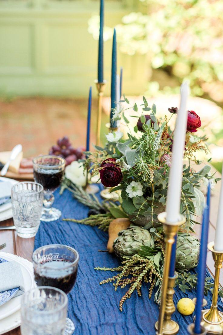 Brass candlesticks and florals