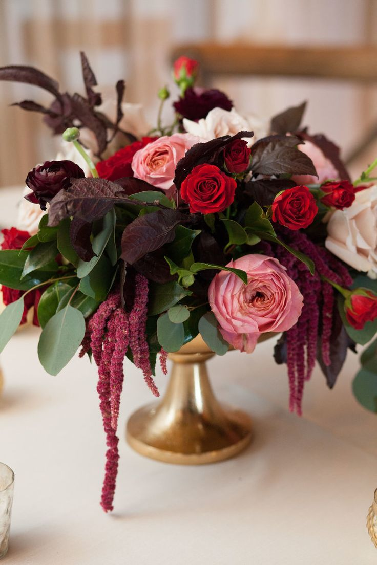 Deep Burgundy and Red Centerpiece with pops of blush in gold urn pedestal // wed...