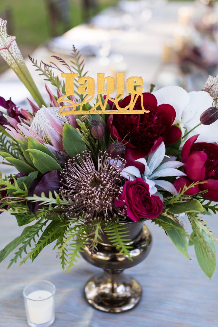 centerpiece with gold table number