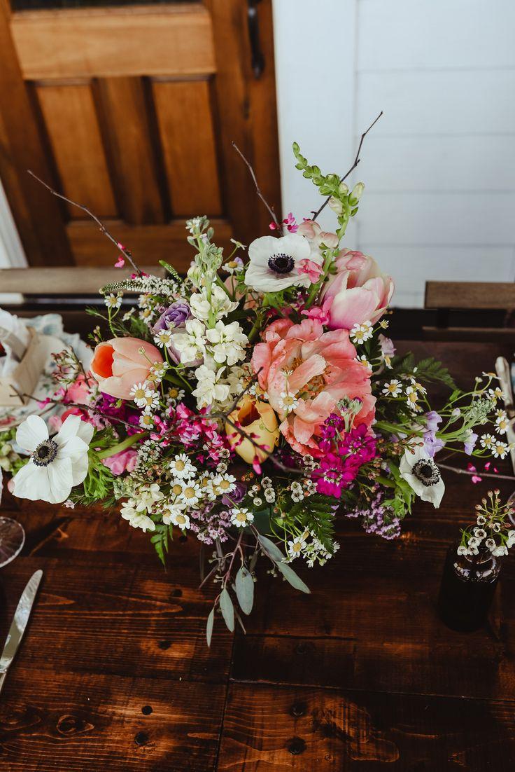 fresh picked floral centerpiece idea