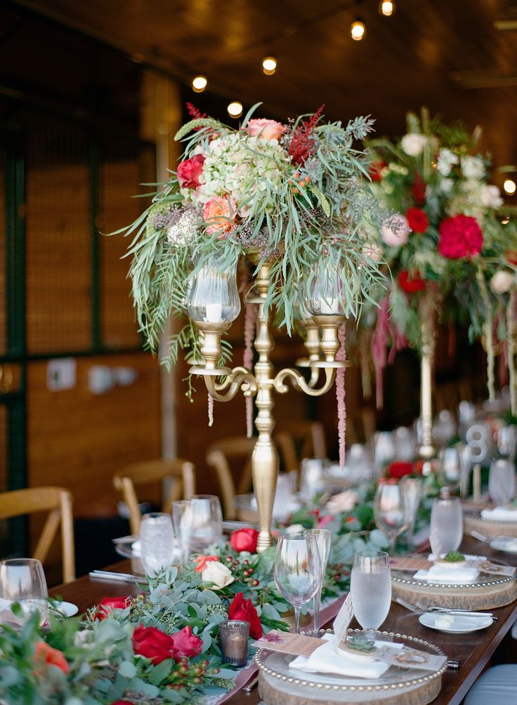 gold, red and green fall centerpieces