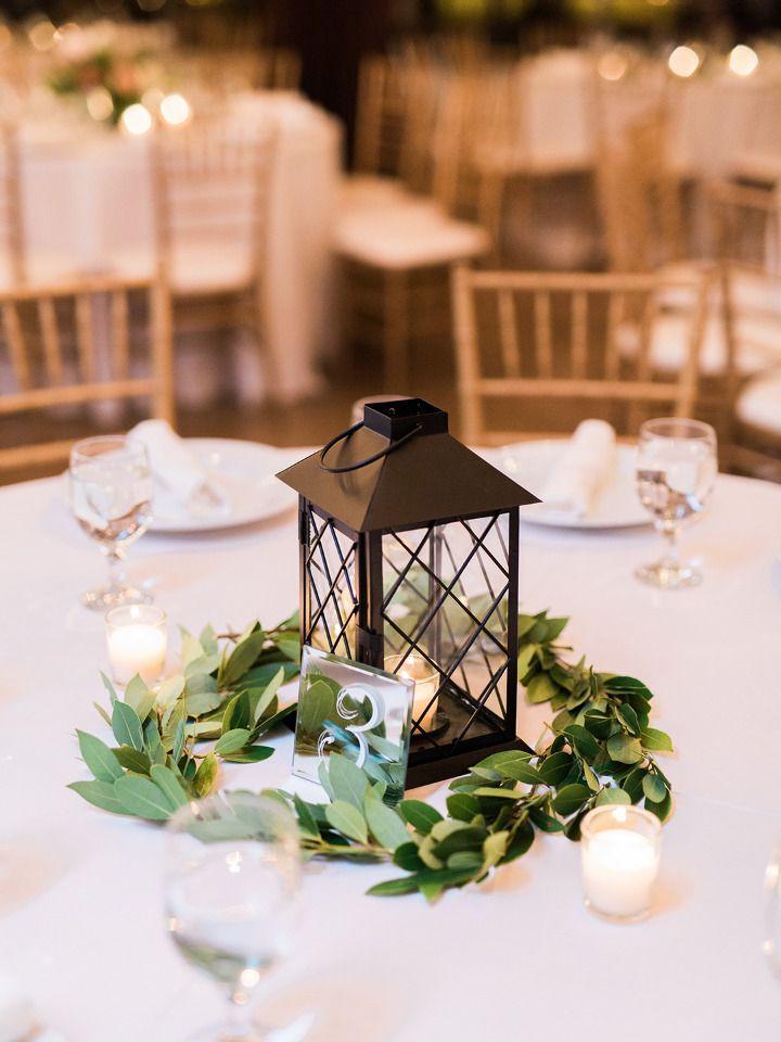 lattice lantern and greenery wedding centerpiece