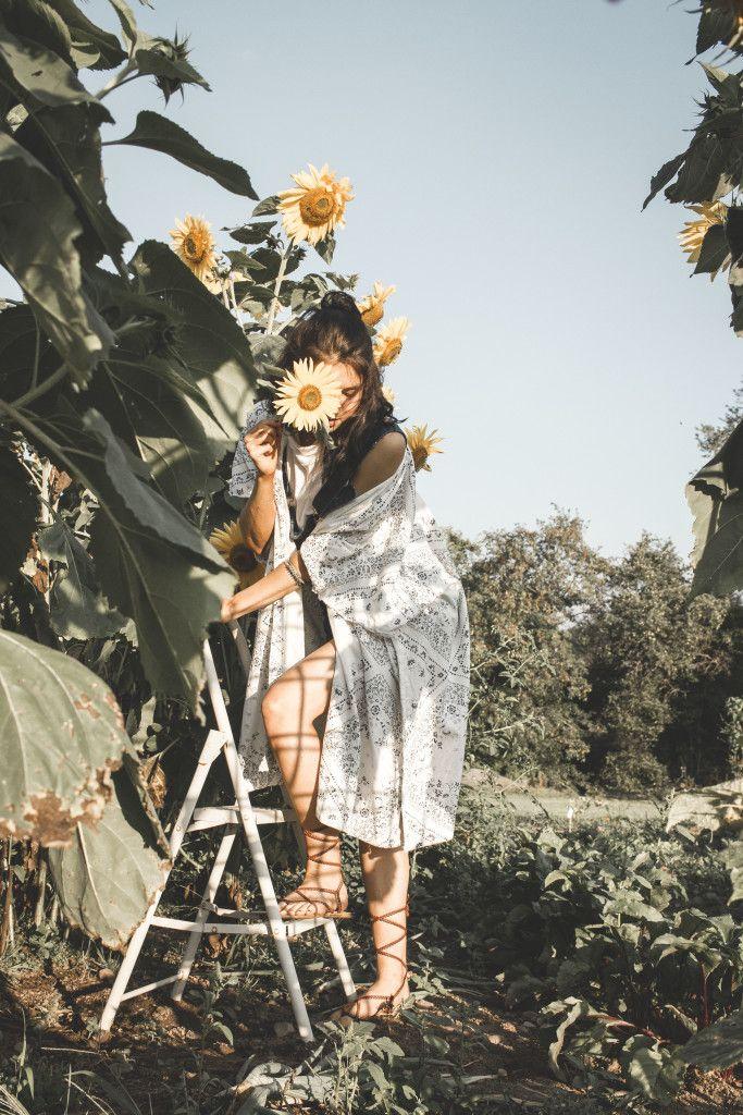 sunflowers boho style kimono